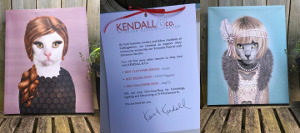 Images of two animal prints and a letter from Kendall and Co.