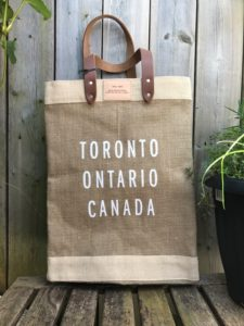 Image of a bag with Toronto Ontario Canada written on it