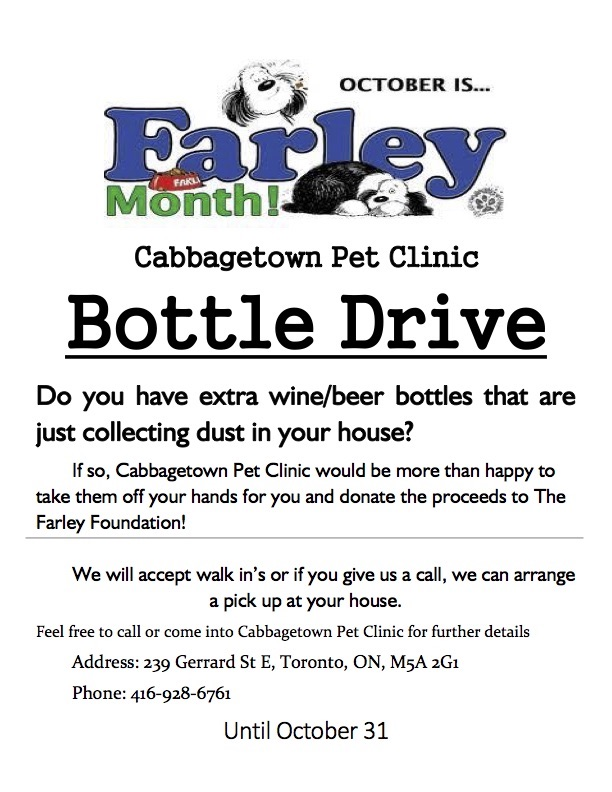 Bottle Drive 2016. Call 416-928-6761 to arrange pickup of beer, wine and liquor bottles in support of The Farley Foundation.