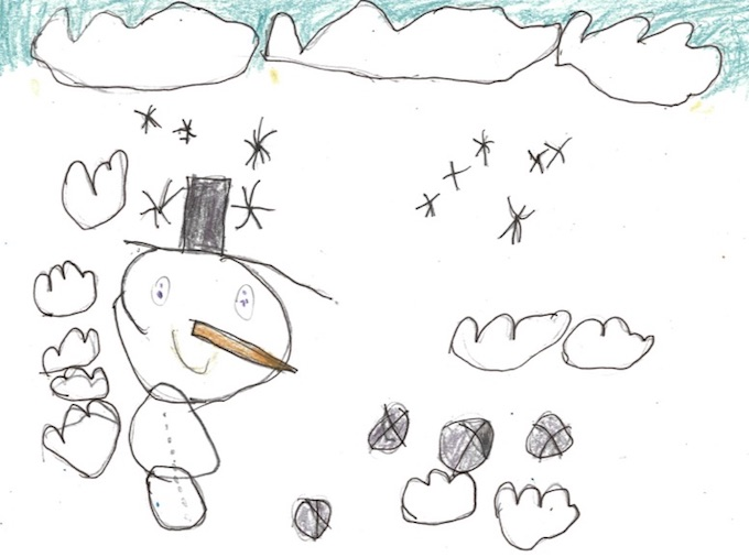 "SPRUCECOURT PRIMARY HONOURABLE MENTION Nabil, ""Smiling Snowman"""