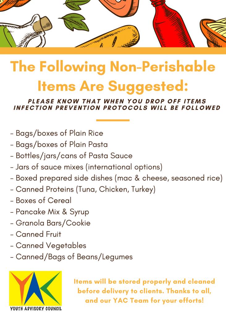 Food drive - list of foods